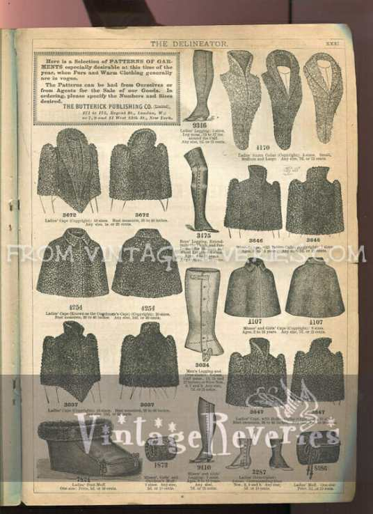 victorian gaiter and winterwear advertisements and fashions