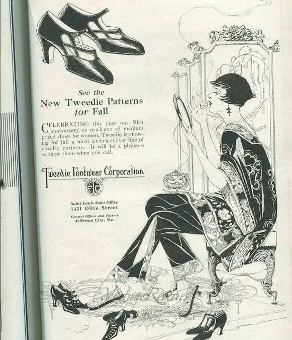 1920s Shoe Advertisements: Women's shoes, children's shoes, and mens shoes.