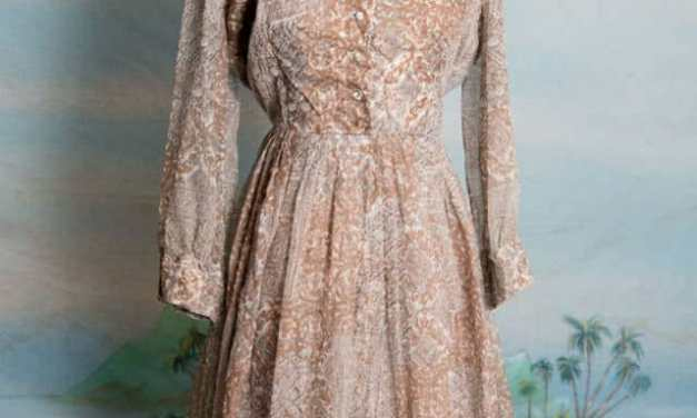 Rhinestone buttoned 1950s June Cleaver style dress – with matching cuff links