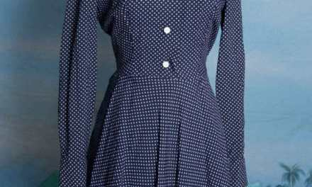 "Classic 1950s polkadot full skirt ""new look"" dress. Small-Medium, totally pinup style"