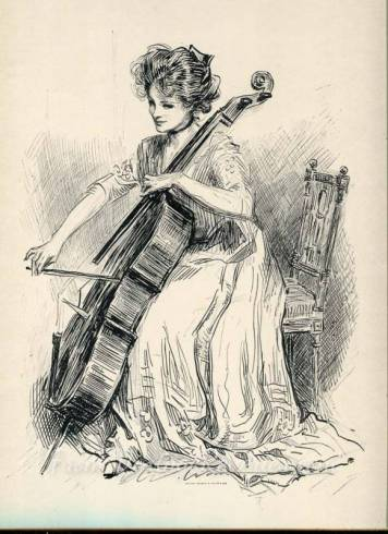 gibson girl playing a cello