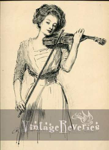gibson girl playing a violin