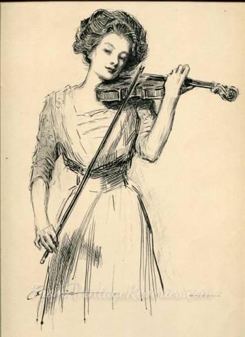 gibson girl playing a violin
