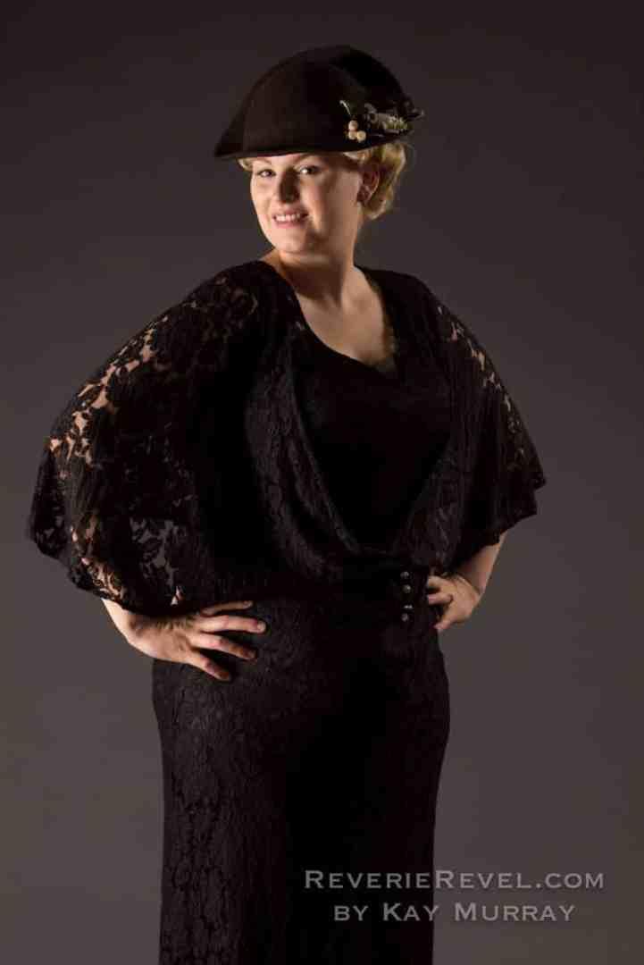 vintage black dress on a bbw