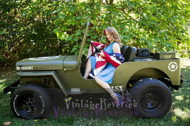 willys jeep with pinup model