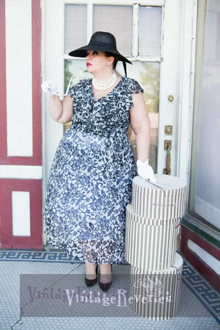 pinup model with hat boxes