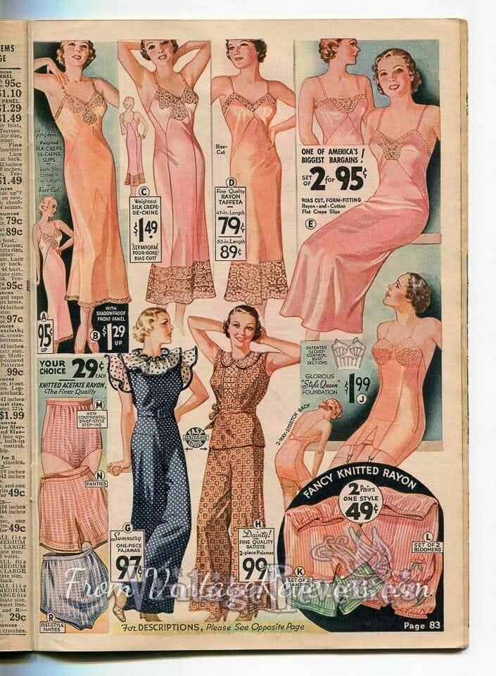 1935 slip, bra, and panty advertisements