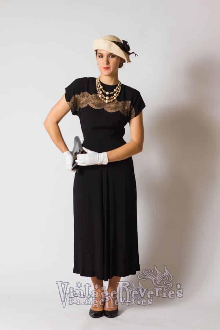 black 1930s dress