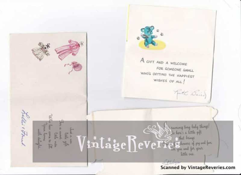 1960s baby shower cards inside