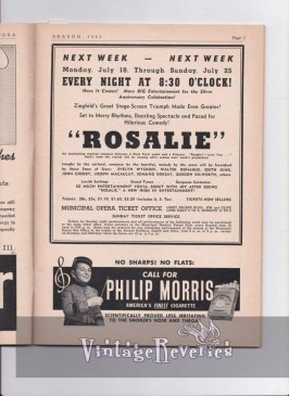 Rosalie musical at the St. Louis Municipal Opera 1943 and Philip Morris Cigarette ad