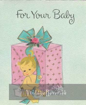 baby shower card art 1960s
