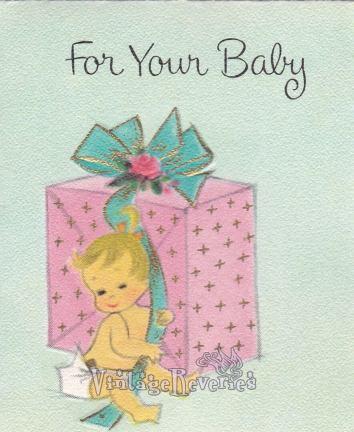 baby shower card art 1960s