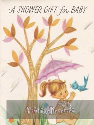 baby shower card art with a girl 1962