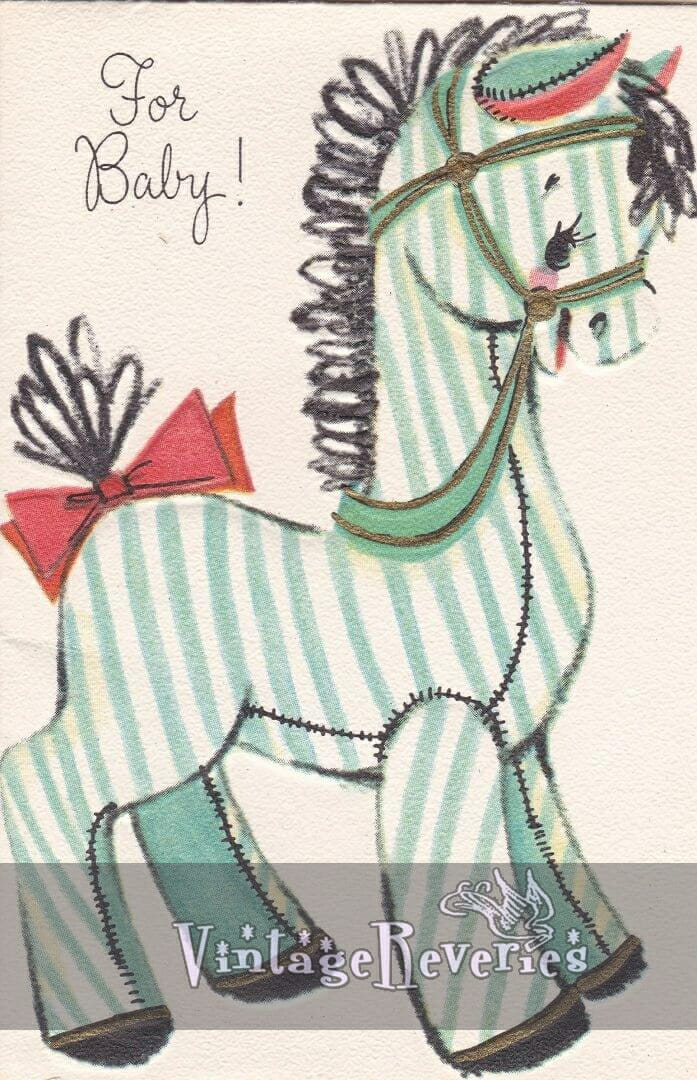 green striped toy horse illustration