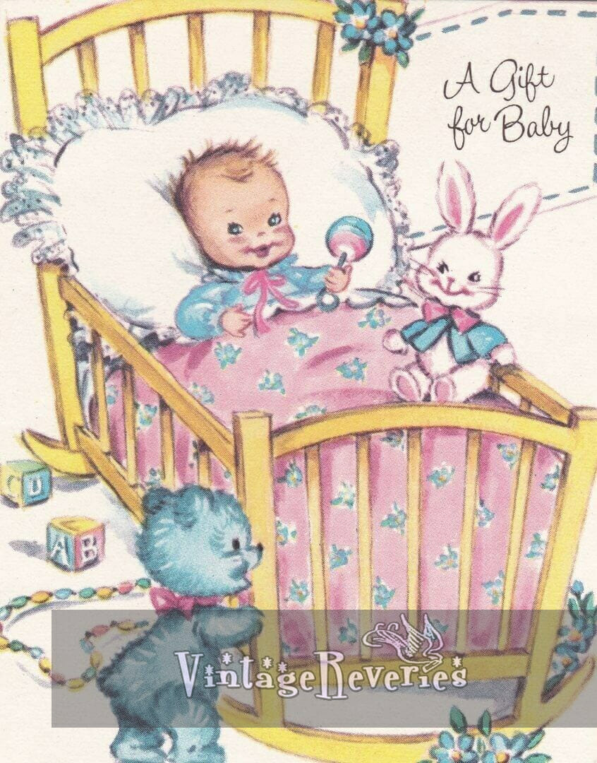 happy baby in a rocking bassinet illustration