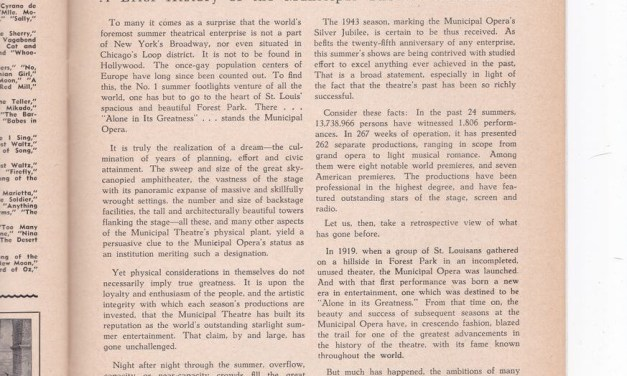 A Brief History of the St. Louis Municipal Theater Association (as written in 1943)