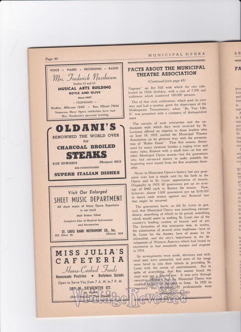 Municipal Theater Association history st louis