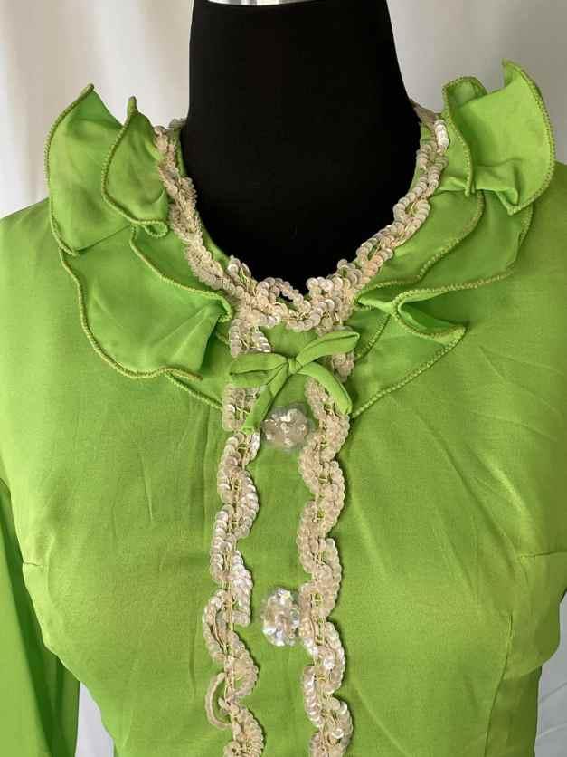 Bright happy neon green long sleeve 60s minidress
