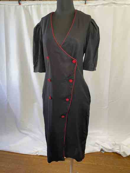 double breasted wrap dress 1980s vintage
