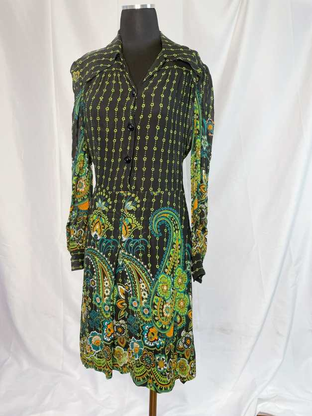 Vintage 70s 80s psychedelic paisley shirt dress - green on black