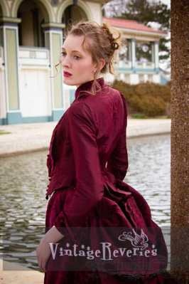 wearing a 1880s dress