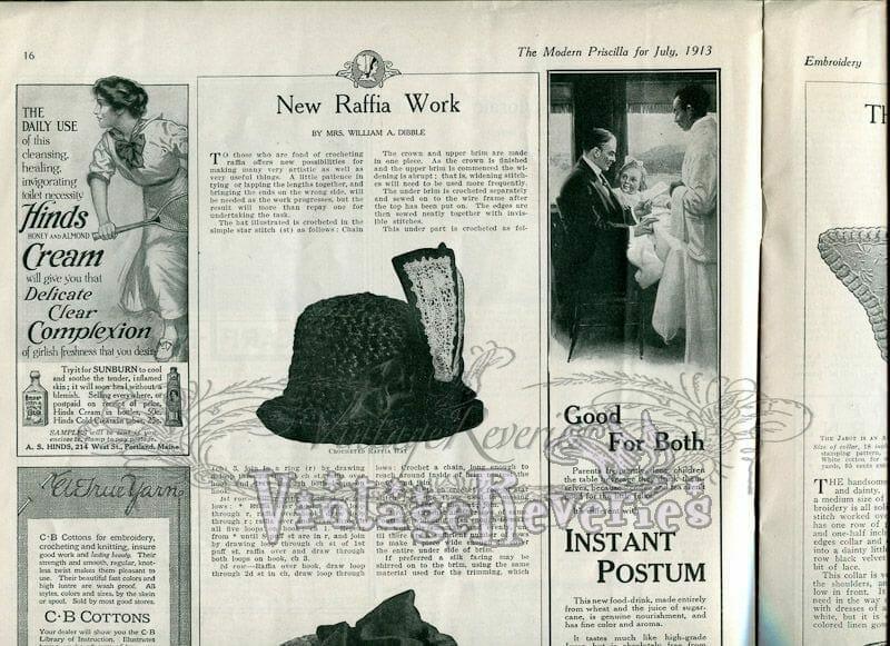 Edwardian Raffia Hat Making Instructions & 3 Collar & Cuff Sets
