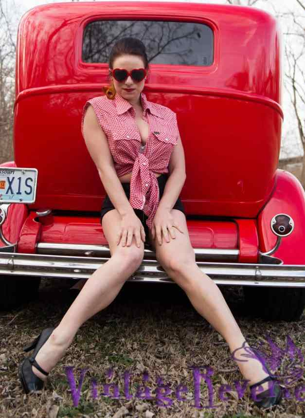 red gingham pinup red car