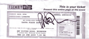 my ticket signed by Dweezil