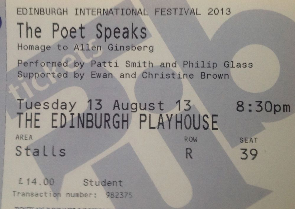 Patti Smith and Philip Glass The Poet Speaks Edinburgh Festival Aug 13th 2013 (3/3)