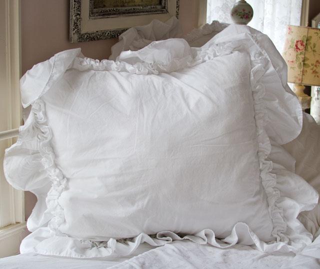 Ruffled Pillow Shams White  Bruin Blog