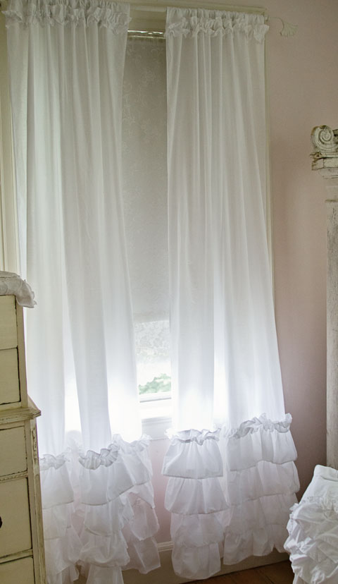 Ruffled curtain panels shabby chic style curtains white ruffles vintage rose collection