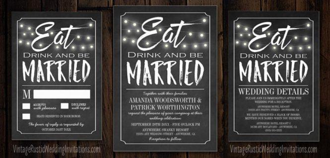 Printable Chalkboard Wedding Invitation Set Mountainmodernlife Com