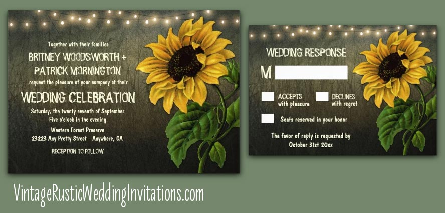 Sunflower Wedding Invitations  Vintage Rustic Wedding Invitations