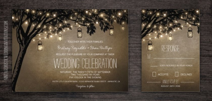 Vine Mason Jar Wedding Invitations With String Lights Hanging From And Oak Tree