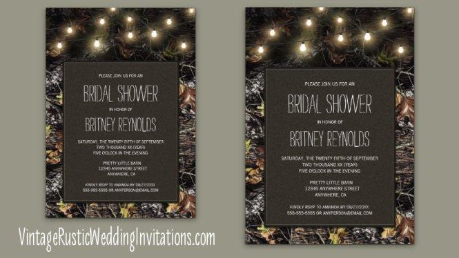 Carved Heart Themed Camo Wedding Invitations