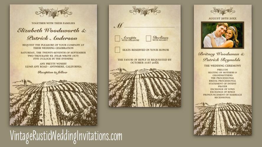 Vineyard Wedding Invitations Vintage Rustic Wedding