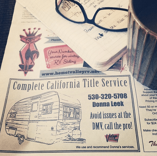 Vintage Camper Title and Registration in California