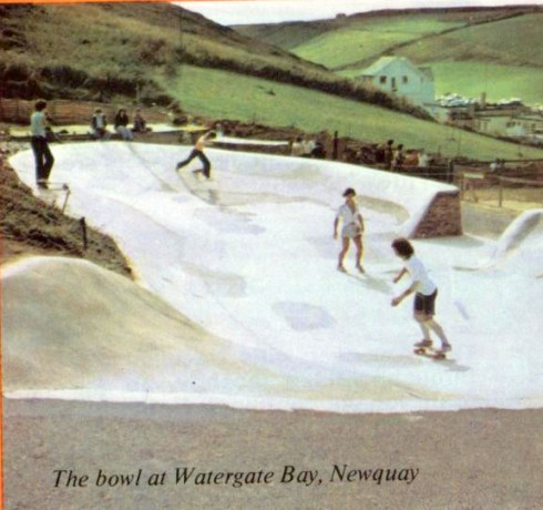 Watergate Bay skatepark Newquay in 1977, from Successful Skateboarding Magazine 1977 with thanks to http://vintageskateboardmagazines.com