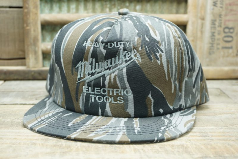 Vintage Heavy Duty Milwaukee Electric Tools Camo Snapback Trucker Hat Cap