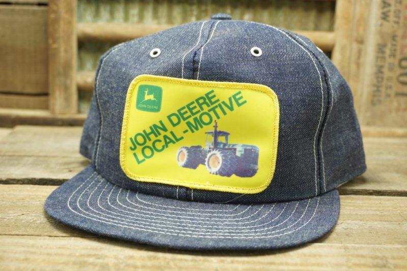 Vintage John Deere Denim Snapback Trucker Hat Cap