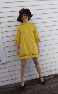 Yellow Mini Dress 60s Vintage Cotton Miss Pat XS