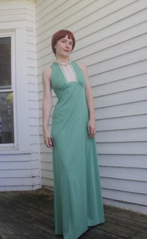 70s Green Sleeveless Maxi Dress