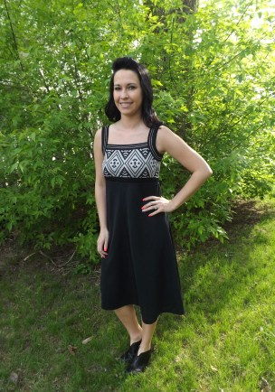 Vintage 70s Black Dress with Metallic Silver Design