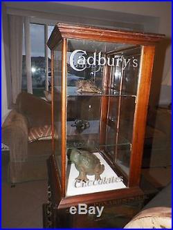 Vintage Cadbury Chocolate Wooden  Glass Counter Top