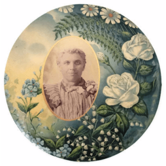 Victorian Celluloid Mourning Button