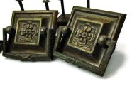 Square brass floral drawer pulls