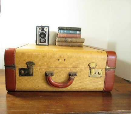 tweed suitcase