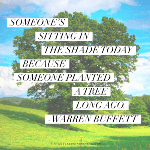 Someone's sitting in the shade today because someone planted a tree long ago. - Warren Buffett Quotes - Vintage Value Investing