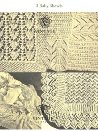 Vintage Knitting Pattern for 3 baby shawls