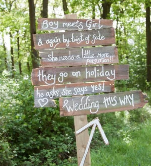 Wooden wedding sign via GinnyandI